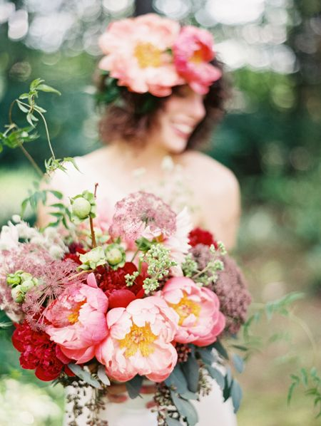 Pink and red peonies