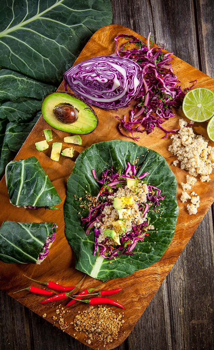 Collard Green Wraps 1 bunch collard greens, 1-2 avocados, Fresh salsa,  1/2 C flaxseeds, ½ C pumpkin seeds, ½ C sunflower seeds, 2 tsp chili powder, Salt, as desired. ¼ red onion, thinly sliced, ½-1 chili pepper, finely chopped, 1/8 head purple cabbage, thinly sliced, ½ bunch cilantro, chopped, 1 lime, juiced, 1 Tbsp Oil, 1 C brown rice
