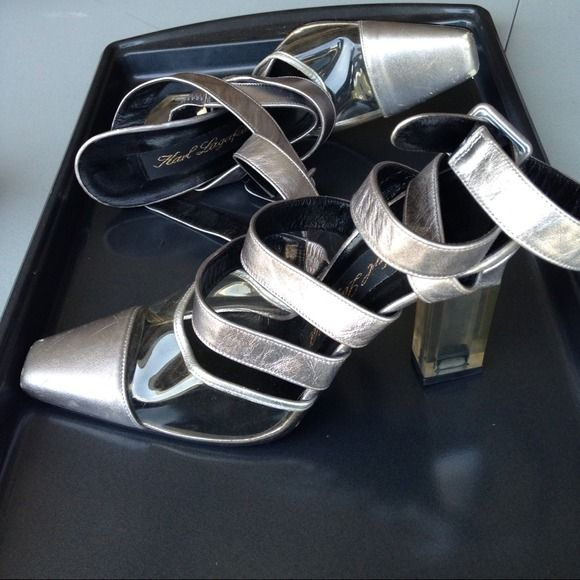 Authentic Karl Lagerfeld Heels. 4 inch clear plastic heeled vintage Karl Lagerfeld strapy pumps. Silver. Narrow fit. Karl Lagerfeld  is the head designer and creative director for the fashion house Chanel as well as the Italian house Fendi. Karl Lagerfeld  Shoes Heels