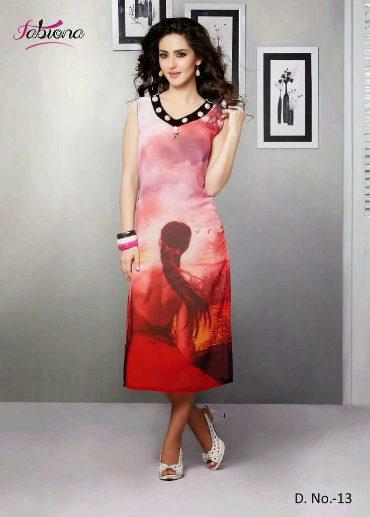 Beautifully Designed Digitally printed Pink Georgette Kurti. Modernized and trendy looking Party wear stuff.