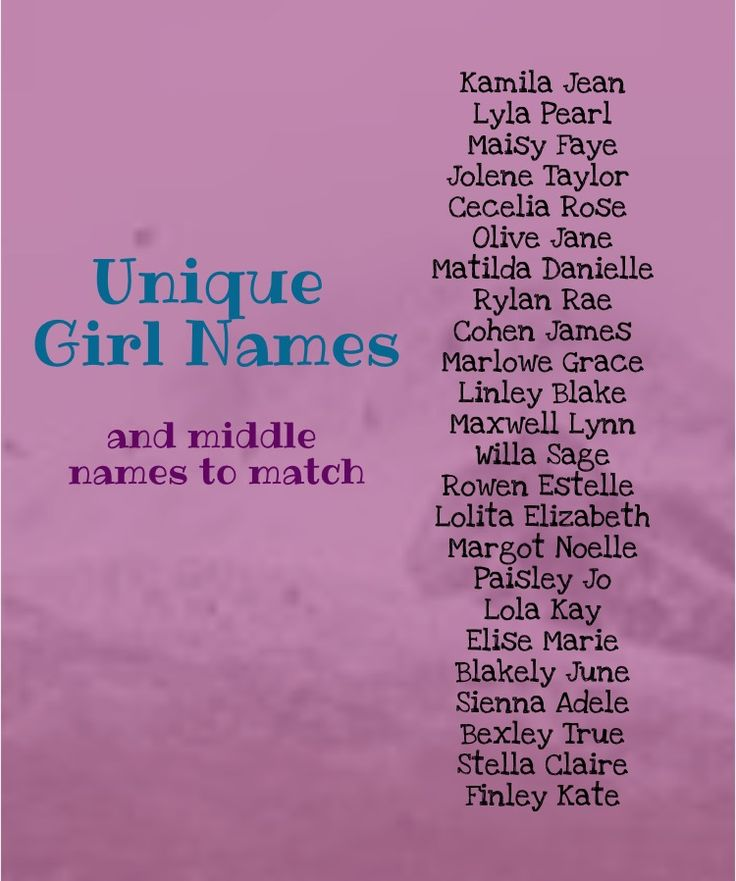 Unique baby girl names. Unique middle names. Unique baby name combinations. Girl names