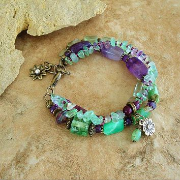 Bohemian Jewelry, Boho Layered Bracelet, Clarity, Discernment, Joy, Amethyst and Fluorite, Original Handmade Bohemian Jewelry by Kaye Kraus
