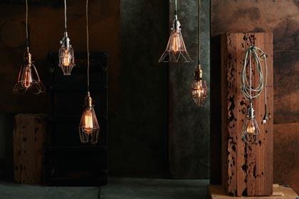 Refined caged lights & edison light bulbs