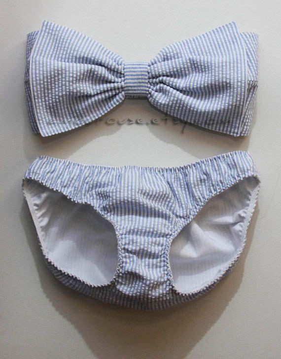 Seersucker bow bandeau set - Made to order. $125.00, via Etsy.
