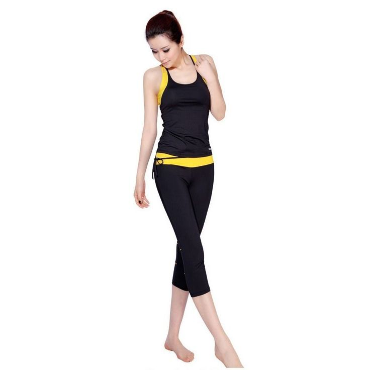 Fitness & Body Building Clothing Women's Yoga Shirts Aerobics Vest Pants Yellow