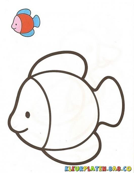 goudvissen met het monster Kleurplaten   KLEURPLATEN MET VOORBEELDEN   Tekening van een vis met een monster schilderij   kleurplaten.8a8.co