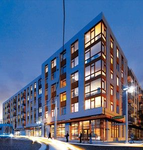 REACH Community Development is developing an affordable housing project at Block 49 in the South Waterfront District. The six-story, 209-unit building was designed by Ankrom Moisan Associated Architects.