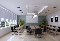 modern conference table white | White conference room design with black chair