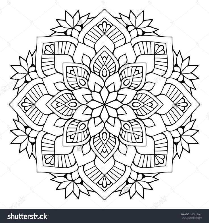 Flower Mandalas. Vintage decorative elements. Oriental pattern, vector illustration. Islam, Arabic, Indian, turkish, pakistan, chinese, mystic, ottoman motifs. Coloring book page mandala