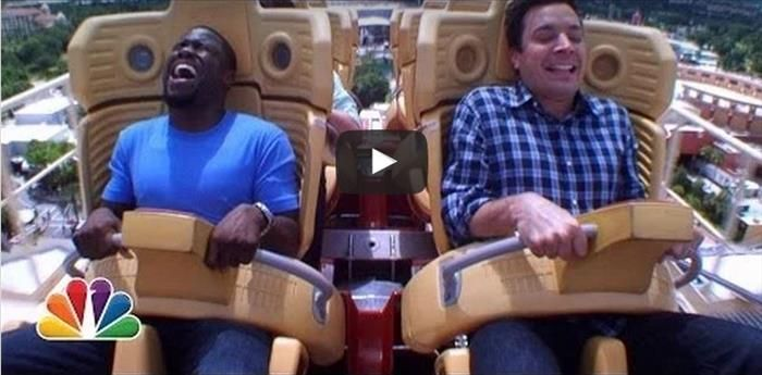 Jimmy Fallon and Kevin Hart Ride a Roller Coaster, And It's Hilarious!
