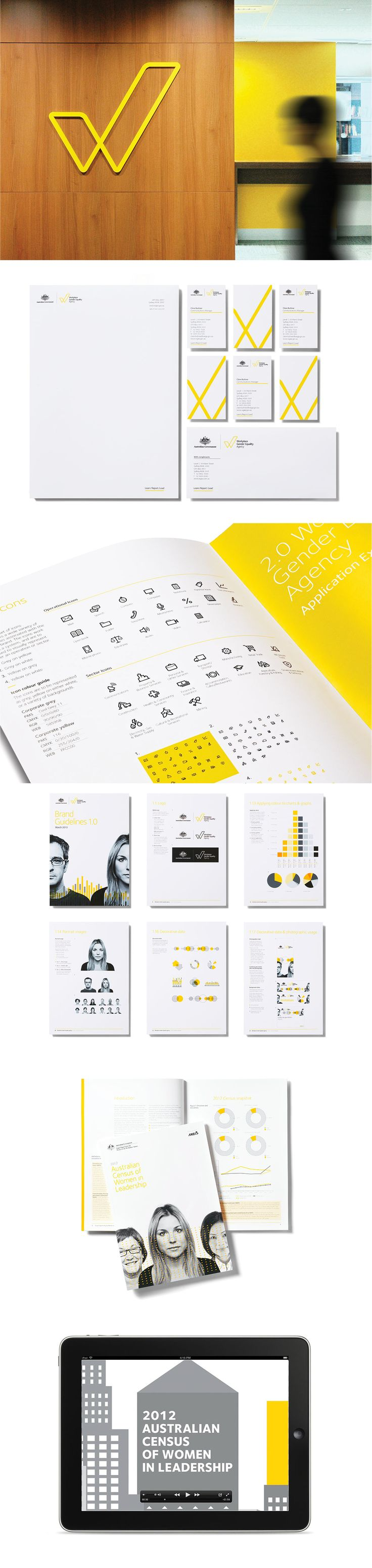 Workplace Gender Equality Agency by Ascender #brand #branding #identity #design #visual #graphic #logo #logotype #collateral #stationery #business #cards #letterhead #annual #report #infographics #info #graphics #data #visualisation #environmental #signage #sign #photography