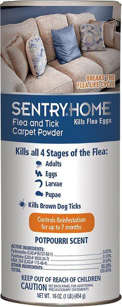 Sentry Home Flea and Tick Carpet Powder for Pets kills all four life stages of the flea: adults, eggs, larvae and pupae. It also kills brown dog ticks. This powder breaks the flea life cycle and controls reinfestation for up to seven months. Protect your pet, your home and your family from the biting, itching and diseases that fleas and ticks can transmit.