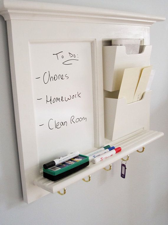 Wall Mail Organizer Whiteboard With 5 Hooks Mail Slots
