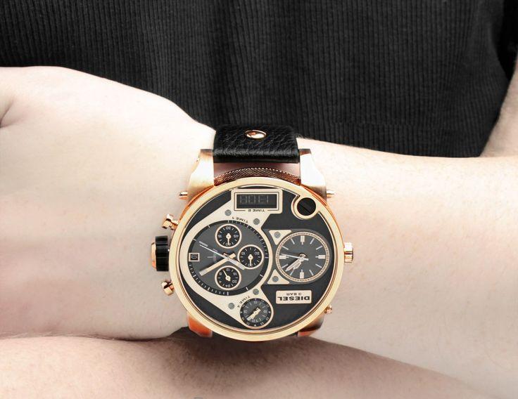 Men's Diesel SBA Mr.Daddy Rose Gold Chronograph Leather DZ7261 #Diesel #Watches #wristwatch #Chronograph