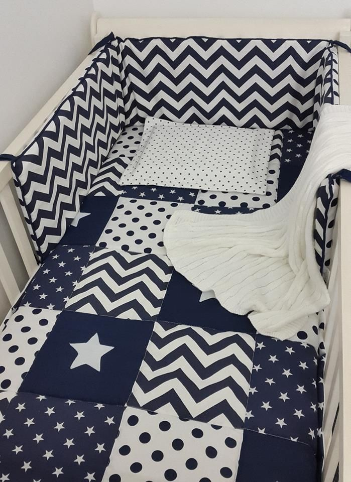 For a combination of #stars, #ZigZags and #PolkaDots, our combination is perfect for any #BabyBoy's #NavyNursery!  #BabyLinen #BabyBedding