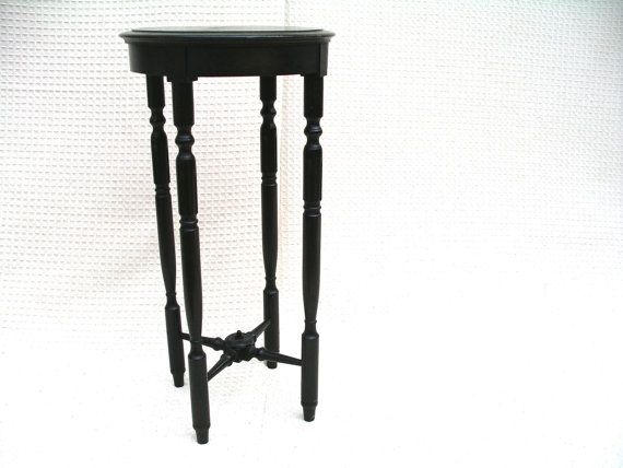 Small Round Wood Table Dark Wood Plant Stand Eastlake