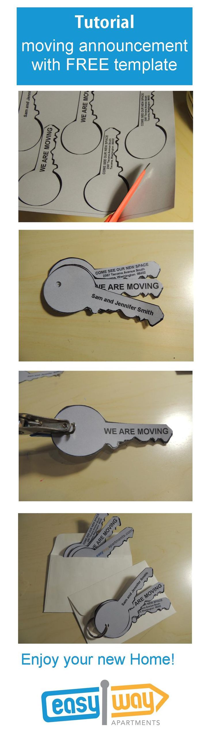 Tutorial and FREE printable| key shaped moving announcements from easywayapartments