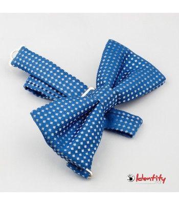 Papion bleu cu romburi mici albe