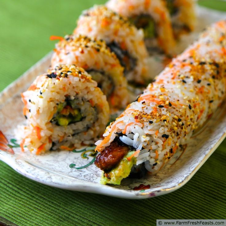 Farm Fresh Feasts: Unagi and Avocado Rolls with Carrot Sushi Rice. This cooked sushi roll is a colorful way to eat the rainbow.
