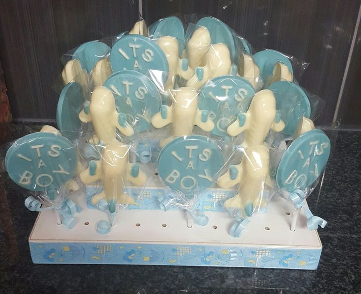 Aeroplane themed baby shower chocolate lollies