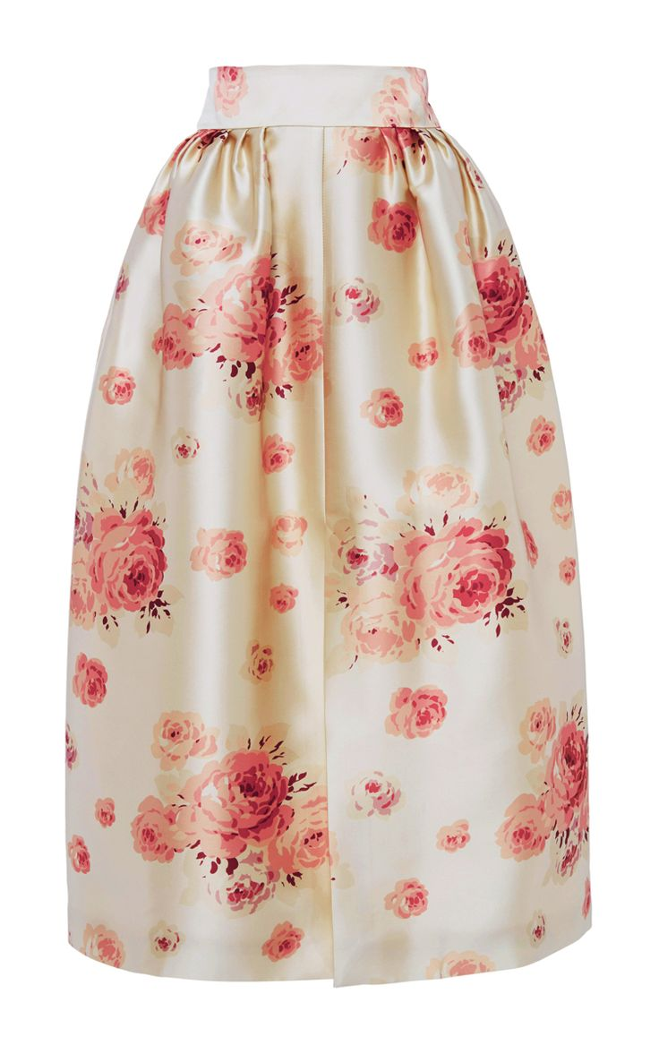 Reda Rose Printed Satin Skirt by Vilshenko - Moda Operandi
