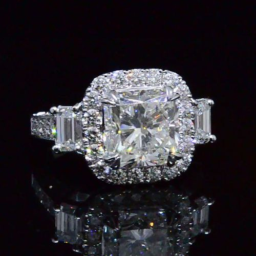 5.86 Ct. Radiant Cut Three Stone Diamond Halo Engagement Ring H,SI1 EGL - Recently Sold Engagement Rings