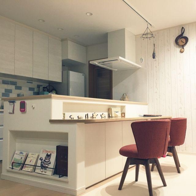 marukotoさんの、リビング,北欧,カウンターテーブル,新築,ダイニングチェア,マイホーム,本棚ニッチ,34坪,のお部屋写真