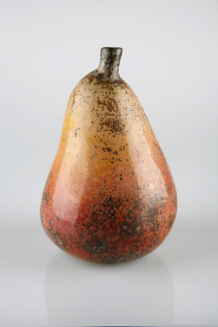 HANS HEDBERG Pear. Faience with glaze in yellow, orange, red and brown. Height 20 cm