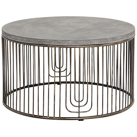 Sargon Round Concrete Coffee Table @lampsplus #sponsored