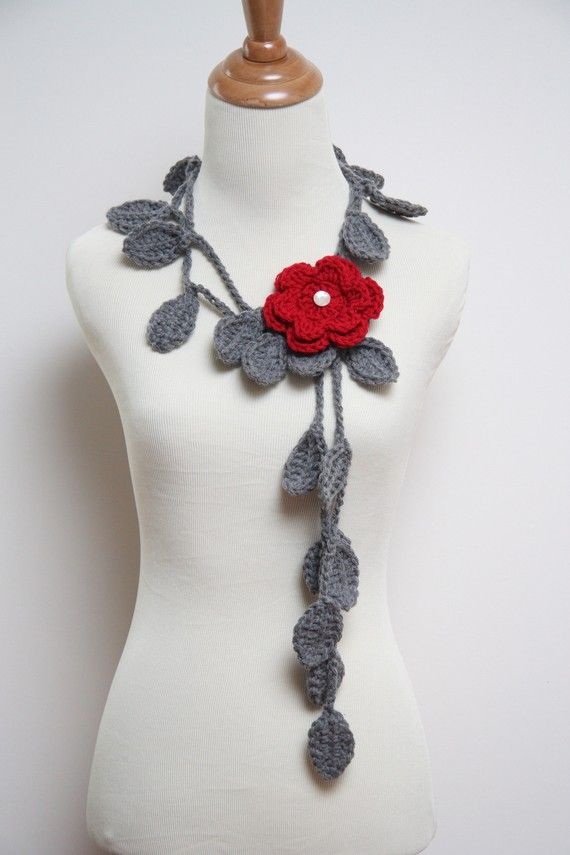 Crocheted Grey Leaf Necklace with Red Flower Brooch by larrie2121