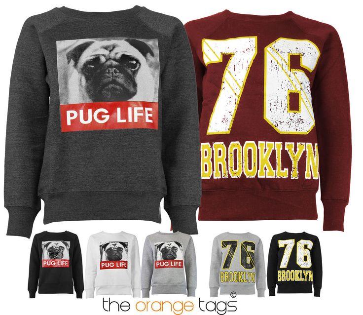 NEW #PUG LIFE / #BROOKLYN 76 #PRINT WOMENS #SWEATSHIRT #LADIES #FLEECE JACKET in Clothes, Shoes & Accessories, Women's #Clothing, #Hoodies & #Sweats   #eBay