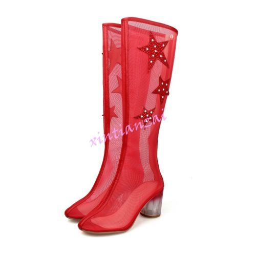 Womens-2016-Mens-Round-Toe-Summer-Knee-High-Boots-Zip-Riding-Shoes-Rhinestore