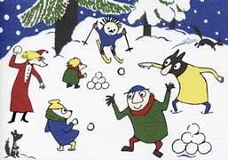 Lumisota Muumilaaksossa (joulukortti) - Perromania - pieni postikorttikauppa - Tuotteet