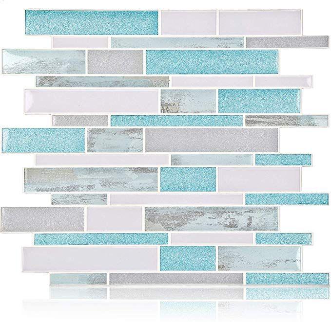 Amazon Com Homeymosaic Peel And Stick Backsplash Tile 3d Wall Silica Gel Vinyl Tiles For Home Decor Stick On In 2020 Blue Tile Backsplash Tile Backsplash Vinyl Tiles