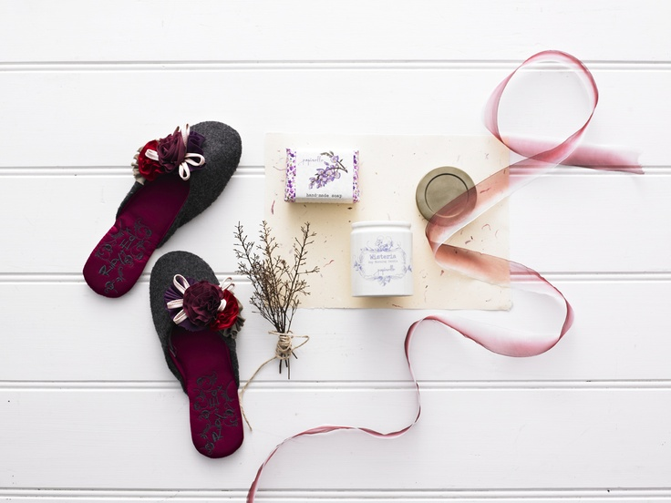 Good Morning - Papinelle mules with felt corsage grey/ cranberry (sizes: small, medium and large), Papinelle wisteria hand-made soap large 140g (made in Australia), Papinelle wisteria scented soy morning candle in ceramic jar 170g (made in Australia)