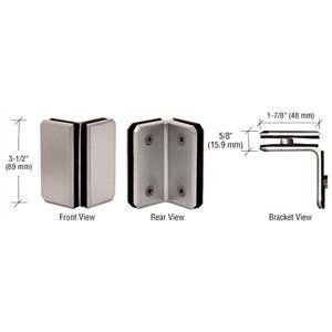 """C.R. LAURENCE M0090BN CRL Brushed Nickel Monaco Series Glass-to-Glass Bracket by C.R. Laurence. $65.60. Mitered With Cut Corners to Match Configuration of Monaco Series Hinges Solid Brass For 1/4"""" to 5/16"""" (6 to 8 mm) Glass CRL Monaco Series 90 Degree Glass-to-Glass Clamps have beveled edges with cut corners, and are designed to secure 1/4 to 5/16 inch (6 to 8 millimeter) glass panels together. Can also be used as a horizontal shlef clamp. Continuity of design is maintained by ..."""