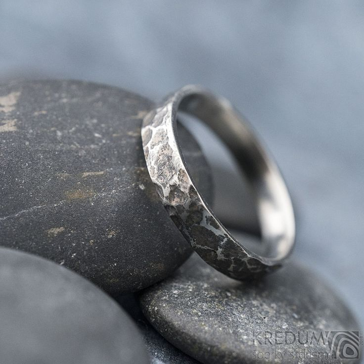 Rustic WEDDING band, Custom MENS ring, WOMENS ring, Unique HAMMERED stainless steel band, mens engagement band, simple unique band - Archeos  This hand forged ring is made of anti-allergic stainless steel. Hits of hammer are left visible on the surface. The inside and sides are smoothly polished.  The rings are without joints. The stainless steel is maintenance-free and keeps its design.
