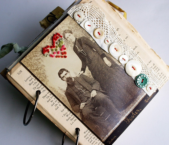 .Photos Journals, Rebecca Sower, Embroidered Vintage, Vintage Photos, Art Journal Inspiration, Art Journals, Embroidered Photos, Paper Crafts, Altered Book