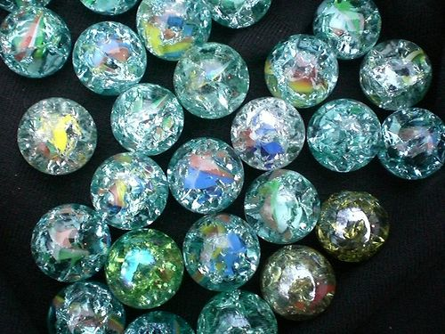 Baked marbles! Bake for 20 minutes on 500. Then put in ice water to make it crack. Love it!