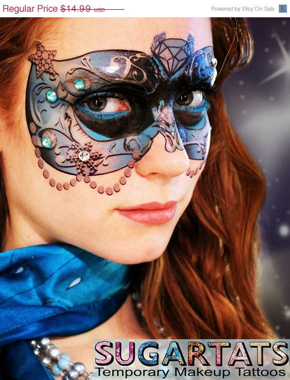 Blue Crystal Masquerade Mask  Temporary Tattoo for by SugarTats, $12.99