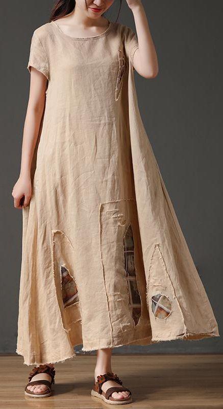 French linen clothes For Women Vintage Short Sleeve Beige Loose Women Round Neck Linen Dress