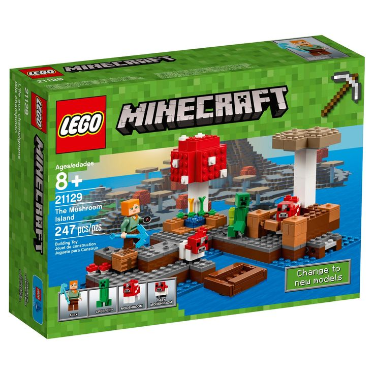 Set sail for The Mushroom Island! This easy-to-reconfigure, modular set with explosion function includes an Alex minifigure, mooshroom, baby mooshroom and a Creeper™. Sail out on a new Minecraft™ adventure to discover The Mushroom Island, mine vital supplies, grow crops and nurture the mooshroom and her baby. Enjoy hands-on Minecraft adventures featuring your favorite characters and objects with this easy-to-reconfigure, modular LEGO® Minecraft set, complete with ex...