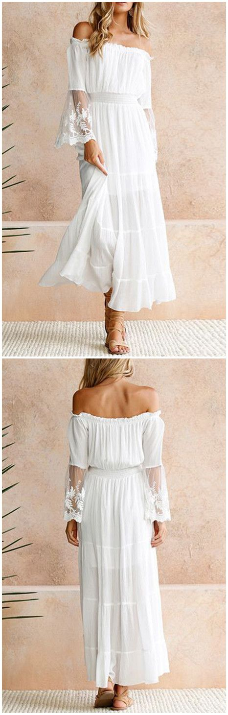 Off the shoulder white maxi dress