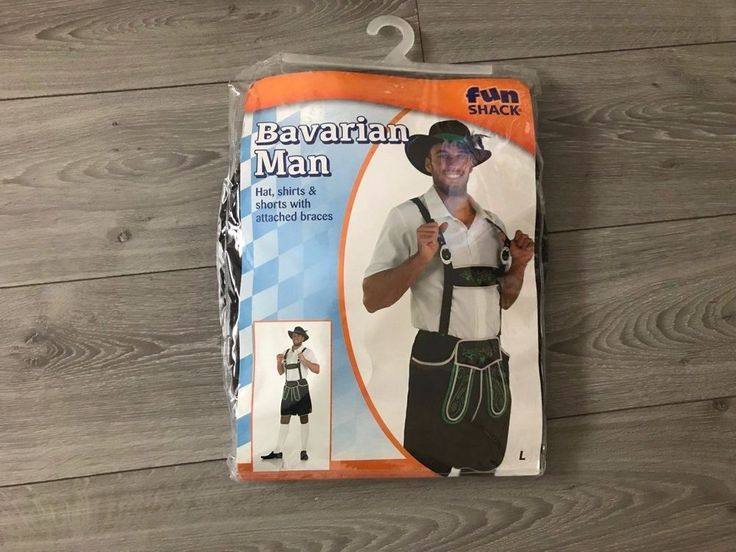 Bavarian Man Lederhosen Costume Brown German Beer Mens Fancy Dress