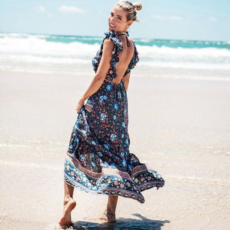 2017 cotton Maxi Dresses backless Sleeveless Floral print sexy long summer dress Vintage boho chic Women dress Vestidos