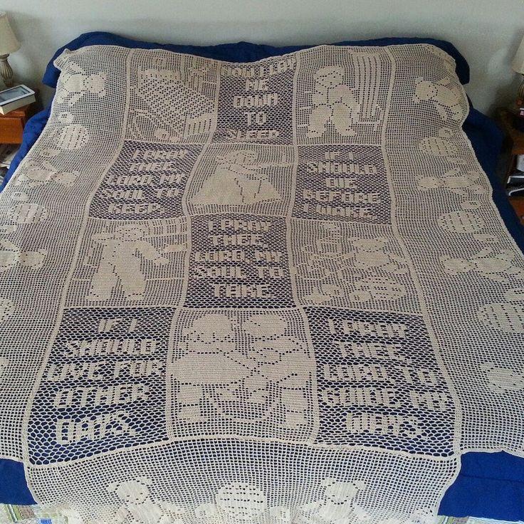 Filet crochet king size bedspread with child's door BearMtnCrochet, $600.00