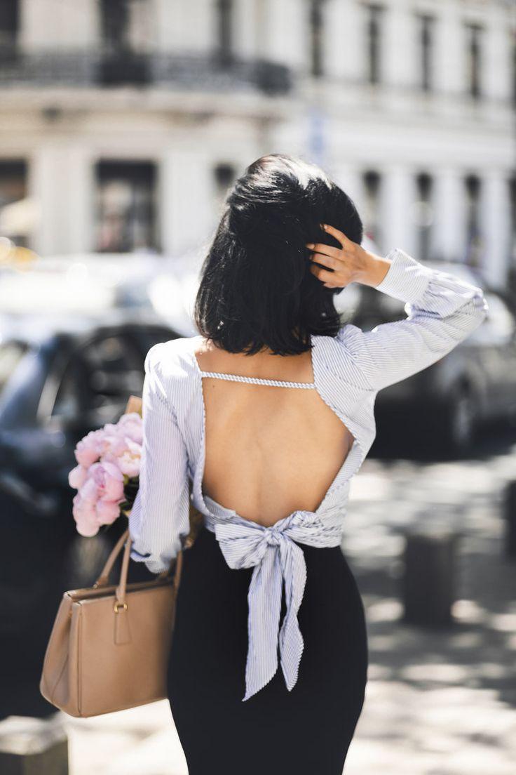 Peonies, a bow shirt & sassy street style look. — DYROGUE  Fashion Blogger Diana Rogo Wearing a Zara Top, Mermaid Skirt and Prada bag in Bucharest.