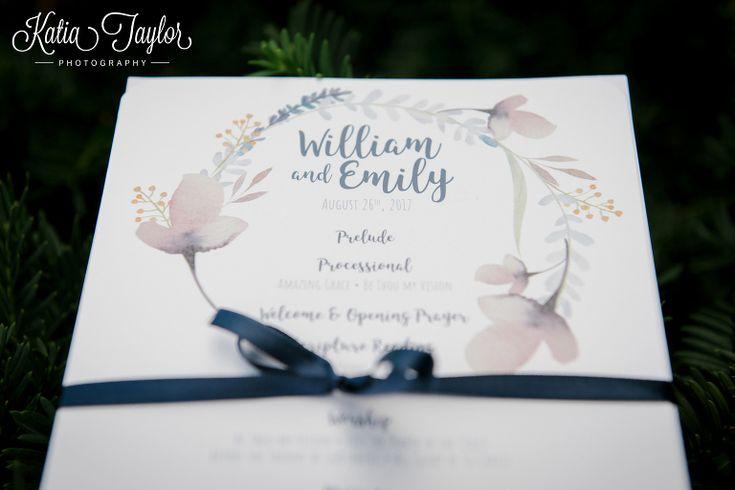 Detail of wedding program, watercolour and flowers. St. Giles Kingsway Presbyterian Church. Toronto.