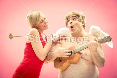 Cupid play ukulele guitar music to his new love girlfriend got by arrow for valentine day