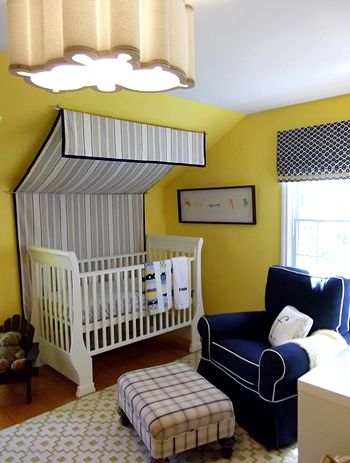 I love the use of this canopy over the crib! So simple, but it has a dramatic effect.
